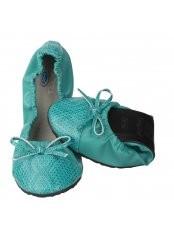 Scholl Pocket Ballerina CROCO - modrozelené baleríny