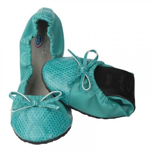 Scholl Pocket Ballerina CROCO - modrozelené baleríny EU 41-42