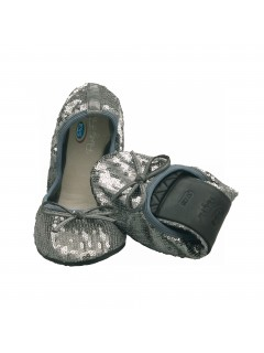Scholl Pocket Ballerina PAILLETTES - stříbrné baleríny