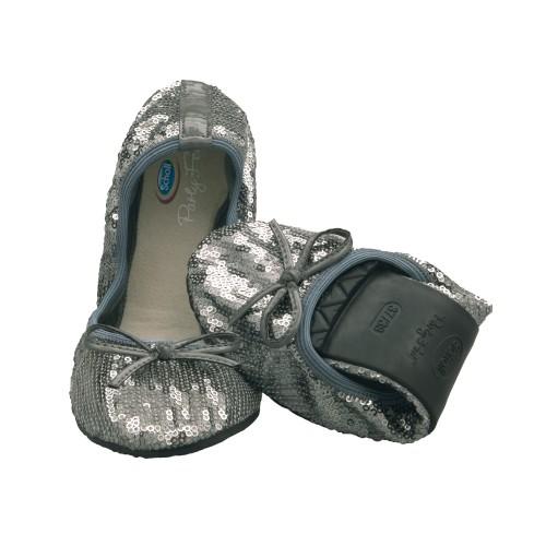 Scholl Pocket Ballerina PAILLETTES - stříbrné baleríny EU 41-42