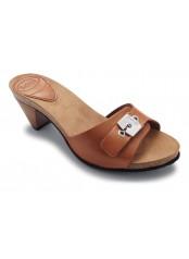 Scholl EST - hnědé kožené pantofle