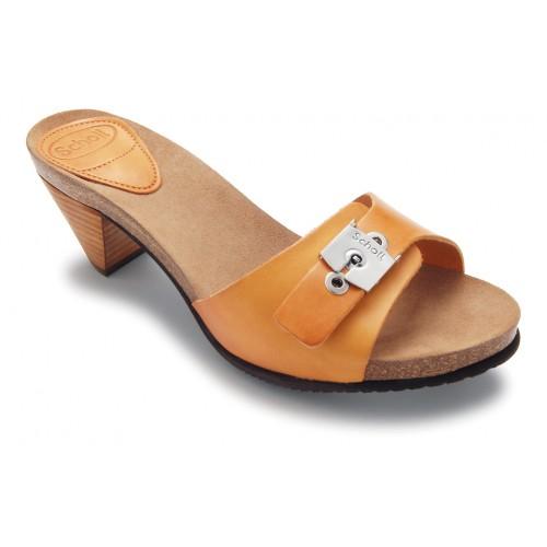 Scholl EST - světle hnědé módní kožené pantofle