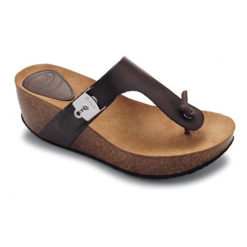 Scholl EDNA 1.2 - tmavě hnědé módní pantofle
