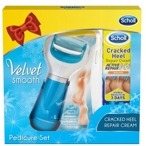 Scholl Velvet Smooth Elektrický pilník na chodidla + Krém na rozpraskané paty 60 ml (dárkové balení)