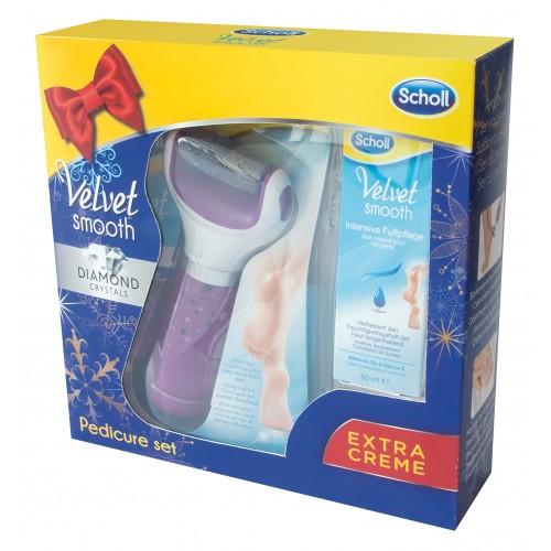 Scholl Velvet Smooth Elektrický pilník na chodidla (fialový) + Noční maska 60ml (dárkové balení)