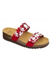 Scholl ALICIA 2 STRAPS - červené / bílé zdravotní pantofle