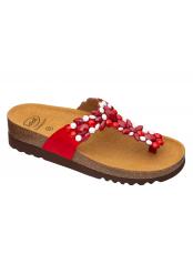 Scholl ALICIA FLIP-FLOP - červené / bílé zdravotní pantofle