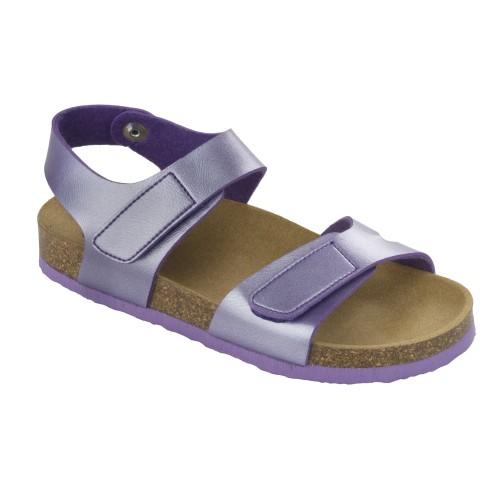 Scholl DINDER KID - fialové dětské zdravotní pantofle s páskem