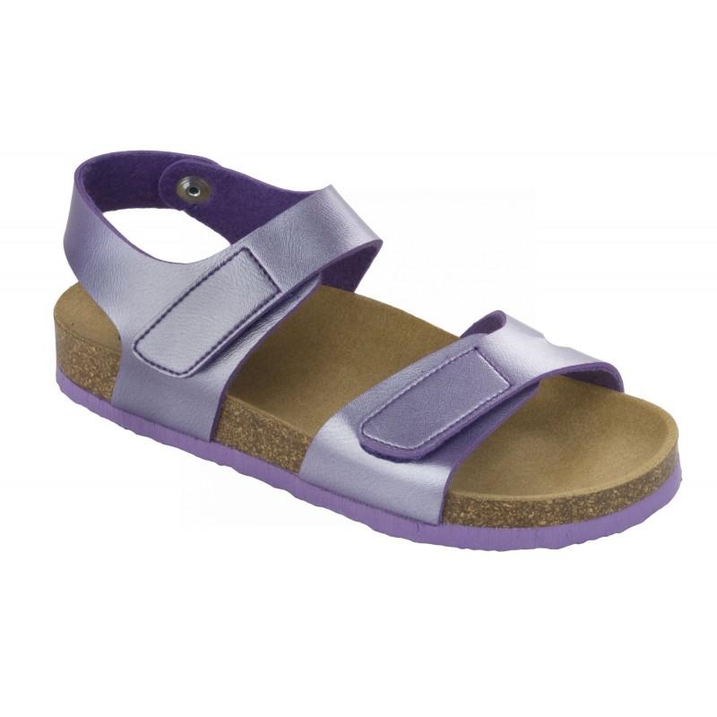 a717102f672 Scholl DINDER KID - fialové dětské zdravotní pantofle s páskem