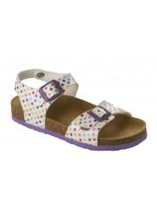 Scholl SMYLEY KID - bílé/barevné dětské zdravotní pantofle s páskem