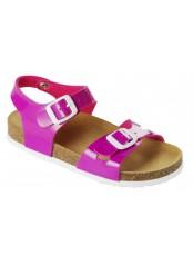 Scholl SMYLEY KID - růžové dětské zdravotní pantofle s páskem