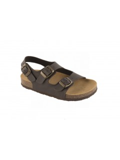 Scholl AIR BAG KID - tmavě hnědé dětské zdravotní pantofle s páskem