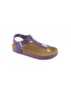 Scholl BOA VISTA KID purpurové dětské zdravotní pantofle s páskem