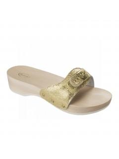 Scholl PESCURA HEEL - platinové zdravotní pantofle