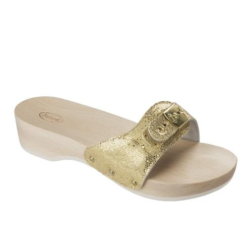Dámská obuv Scholl PESCURA HEEL - platinové dřeváky (zdravotní pantofle)