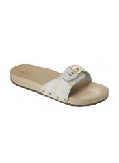 Scholl PESCURA FLAT bílé zdravotní pantofle