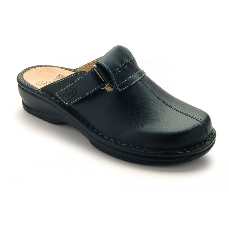29e88b2968 Scholl AGATHE černé kožené zdravotní pantofle DOPRODEJ