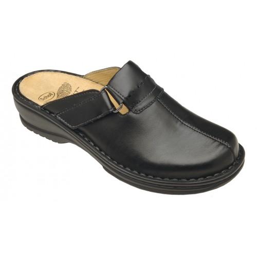 Scholl AGATHE černé kožené zdravotní pantofle