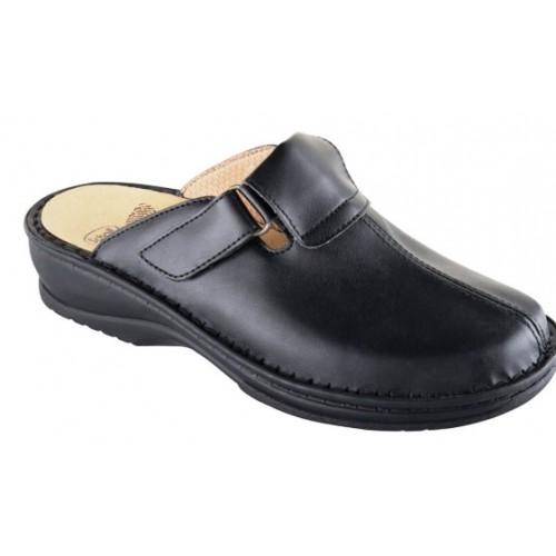 Scholl AGATHE černé kožené zdravotní pantofle NOVINKA