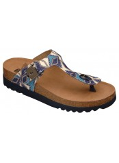 Scholl BOA VISTA INCA modré multi zdravotní pantofle