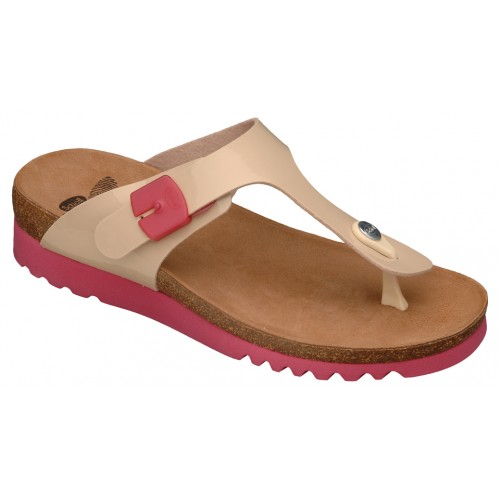 Scholl BOA VISTA UP béžové zdravotní pantofle