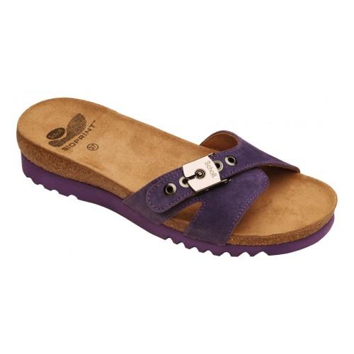 Scholl ESME purpurové semišové zdravotní pantofle