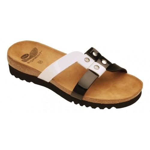 Scholl IKELA černé/bílé zdravotní pantofle