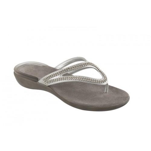 Scholl LULU stříbrné zdravotní pantofle