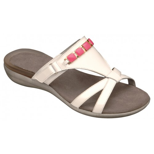 Scholl LYNN bílé / růžové zdravotní pantofle