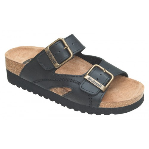 Scholl MOLDAVA WEDGE AD černé zdravotní pantofle