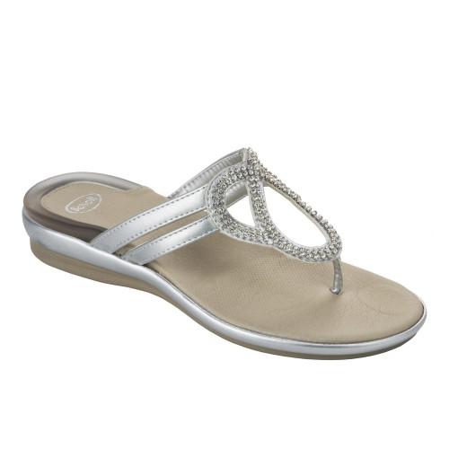 Scholl BELTHIL stříbrné zdravotní pantofle + doprava zdarma