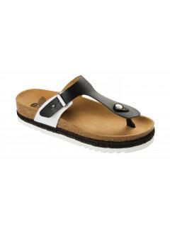 Scholl IDYLLA černé/bílé zdravotní pantofle