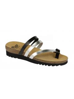Scholl ALMA černostříbrné zdravotní pantofle