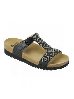 Scholl ASTRELLE černé/stříbrné zdravotní pantofle