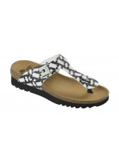 Scholl BOA VISTA UP černobílé zdravotní pantofle