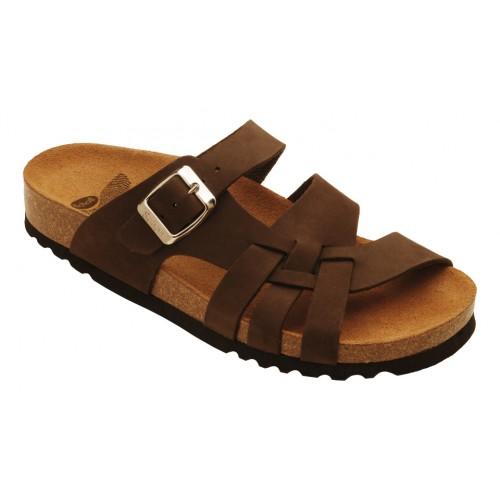 Scholl CARSOL tmavě hnědé zdravotní pantofle