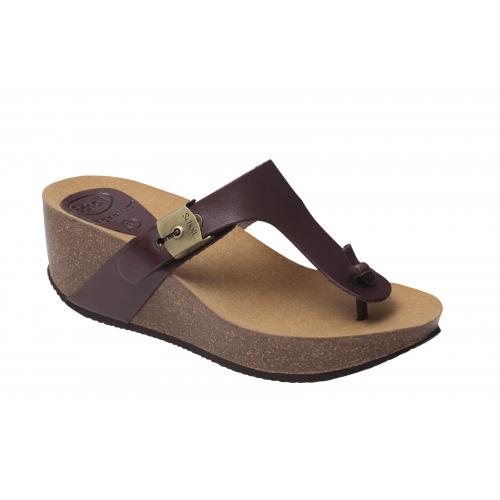 Dámská zdravotní obuv Scholl EDNA 2.0 - tmavě hnědé pantofle