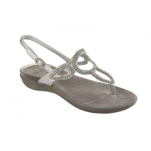 Scholl GLOSSY stříbrné zdravotní sandále + doprava zdarma